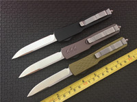 Wholesale Microtech Styles Ultratech D A Drop Knife CNC D2 Steel quot Satin Blade EDC Hunting Knives With Plain Clip E