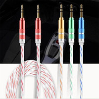 Wholesale NEW mm Stereo Audio AUX Cable Dual Color Wire Auxiliary Cords Jack Male To Male M FT For Iphone Samsung S7 S6 Mobile Phone N SJ