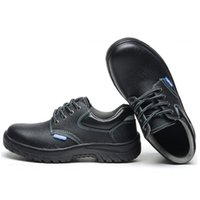 Wholesale Men s Fashionable Work Safety Shoes Protective Boots Cow Leather Smash proof Penetration resistant Water Resistant Steel Toe Black Shoes
