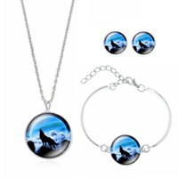animal howl - 2016 Hot Sales Howling Wolf Time Gem Necklace Set Earrings Necklace Jewelry Set Halloween Gift S229