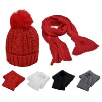 Wholesale Warmer Winter in Set New Fashion Women Thicken Scarf Wrap Hat Set Knitted Knitting Girls Collars Skullcaps HB88