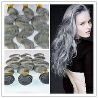 Wholesale Gray Silver Unprocessed Peruvian Hair Body Wave Human Hair Weave A Virgin Hair Weft g pc