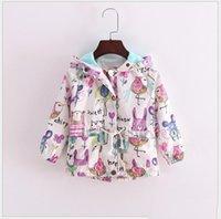 Wholesale 2016 New Autumn Cute Baby Girl Coat Animals Printing Cartoon Graffiti Hooded Zipper Girls Jacket Long Sleeve Toddler Girl Outwear