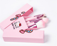 best quality makeup mirror - Newest Portable Hello Kitty Makeup Brush Set Mini Professional Facial Cosmetics Make Up Brushes Set With Mirror best quality