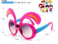 Wholesale Cute Cartoon Bunny Design Kids Sunglasses Folding Candy Color Goggles Eyewear For Children Girls Boys UV protection