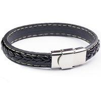 Wholesale mens leather bracelets Stainless steel braided leather bracelets titanium steel multilayer bracelets