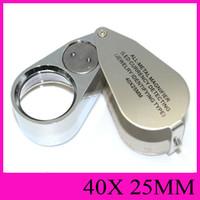 40X25MM totalmente metálico de la lupa LED de la moneda que detecta la joyería indicará el tipo de joya Iluminador lupas lupa de mano portable rotativa