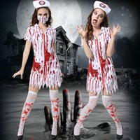 adult doctor costumes - Vampire Nurse Uniforms Ghost Adult Women Doctor Doctors Halloween Costumes Cosplay Fancy Party Carnival Roleplay Costumes