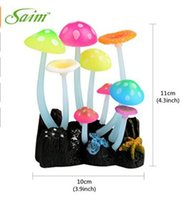 Wholesale Saim Glowing Effect Artificial Mushroom for Fish Tank Decoration Aquarium Ornament