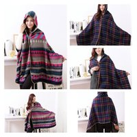 Wholesale New fashion Ladies Shawl Plaid Cloaks Winter Scarves Warmer Shawls coat women Hooded shawls A0345