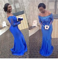 bella crystals - Latest Ankara Aso Ebi style Blue Lace Mermaid Evening Dresses Nigerian Bridesmaid Dresses Off Shoulder Long sleeves bella naija Party Gowns