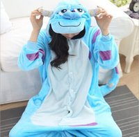 achat en gros de une pièce de nuit de dessin animé-Adult Cartoon Monster Sullivan Pyjamas Animal Onesie Costumes One Piece Sleepwear Couples Kugurumi Cheap Homedress Siamese Onsies LSJF01
