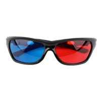 achat en gros de film vidéo bleu-9824 PC + AC Universal 3D Lunettes en plastique Black Frame Rouge Bleu 3D Visoin verre pour Cinema Passive Antenne Dimensional Anaglyphe Film DVD Video TV