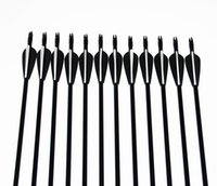 Wholesale 12pcs Black White inches Spine Target Practice Steel Point Archery Fiberglass Arrows for Hunting Compound Bow