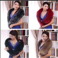 Wholesale 100 real fur High custom kinds of scarves shawls big raccoon collar dress fur shawl collar widened fox collars down jacket coat collar