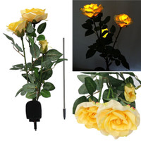 Wholesale New Arrival Solar Power Rose Flower LED Light Garden Yard Lawn Decoration View Lamp Red Yellow White Pink