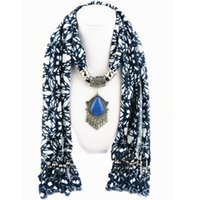 Wholesale Hot sale Fashion Heart Alloy resin pendant scarf Ms accessories scarf Blue and white cloth hanging must be tassel polyester scarf cm