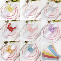 Wholesale Metallic Butterfly Paper Napkin Rings Wrap Wedding Holder Bridal Shower Favor Napkin Holder For Party Home Table Decoration Colors DHL