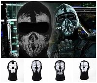 Wholesale Outdoor CS Ghost Masks Skull Ghost Bike skateboard Hood Ski Cosplay Airsoft CS Balaclava Ghost Skull Face Mask Hunting Army Tactical C21