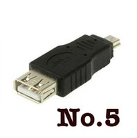 Wholesale Free Shippping Black Female USB A to Male Mini pin B Adapter Converter USB cable For MP3 MP4