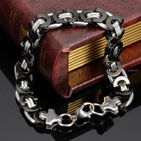 bicycle link bracelet - 23CM MM Wide Stainless Steel Bracelet Men Biker Bicycle Motorcycle Chain Men s Bracelets Silver Black Mens Bracelets Bangles New Fashion