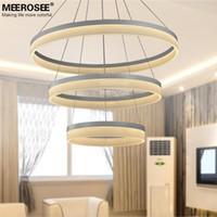 Wholesale LED Round Chandelier Modern Acrylic Lamp Light for Dinning Room new singular Rings Restaurant LED Hanging Light Fixture