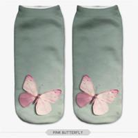 antelope shoes women - D Printed Socks Women Cute Pattern Art Socks Butterfly Drops Antelope Shoes Casual Cotton Socks Unisex Low Cut Ankle Socks