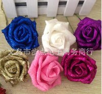 artificial glitter flowers - Silk Hydrangea Real Touch Flowers Wedding Decorations Rose Artificial Glitter Foam PE Artificial Flowers Rose Head Party DIY Kissing Ball