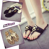 leather soles for shoes - 2016 New Luxury Brand Sandals For Women Fashion Women Sandals Slipper PU Leather Rubber Sole Antiskid Beach Shoes Flat Sandals Flip Flops