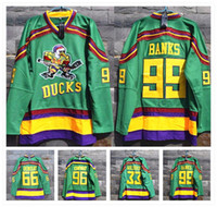 bank ice - Stitched Movie Mighty Ducks Jersey Adam Banks Gordon Bombay Greg Goldberg Charlie Conway ICE Hockey Jerseys
