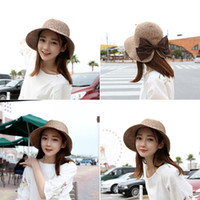 Wholesale Summer new women hats Japanese big bow split visor hat Holiday sun hat Parent child straw hat