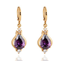 amethyst stud earrings yellow gold - Wholesales K Yellow Gold Plated Purple Amethyst Aulic Teardrop Hoop Dangle Earrings for Women Fashion Jewelry Hot Gift