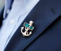 anchor jewelries - lily New Brand Men Rhinestone Party Brooches Women Rhinestone Anchor Design Pins Jewelries For Casual Party XZ0018