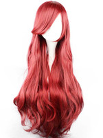 Wholesale adult Princess Ariel cosplay accessories ariel wig mermaid wig party Wine red Cosplay Wig long cos hair wig