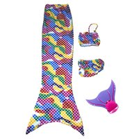 Wholesale Swimmable Mermaid Tail Bikini Set with or without Monofin Swimming Costume Dress for Women Girls