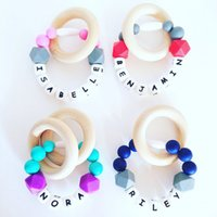 baby name rings - DIY Personalized Handmade Baby Name Silicone Teething Ring with Wooden Circle Beads BPA Free Safe Silicone Teether Toy Chew Beads