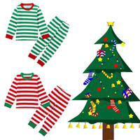 Wholesale 2016 New Christmas Kids Pajamas Cotton Deer Stripe Tops Pants Clothing Sets Sleepwear For Girls Boys Clothes