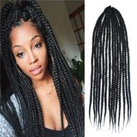 Wholesale 24 Kanekalon Senegalese Large g Strands Natural Black Box Braids Hair Crochet Twist Braids Synthetic Braiding Hair Free Crochet Hook