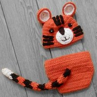 baby tiger photos - Novelty Orange Tiger Newborn Outfits Handmade Crochet Baby Boy Girl Animal Beanie Hat and Diaper Cover Halloween Costume Infant Photo Prop