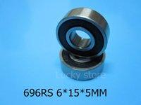 696RS cojinetes miniatura sellados caucho del cojinete 10pcs Envío libre 696 696RS cojinete profundo del surco del acero del cromo 6 * 15 * 5MM
