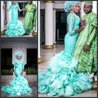 african cap - african wedding dresses court train long sleeves green lace mermaid muslim nigeria traditional bridal wedding gowns