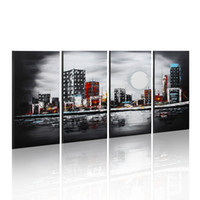 abstract cityscape - Large Oil Painting Modern Abstract Art Panels Night Moon Cityscape Painting with Frame Home Decor x60cmx4pcs