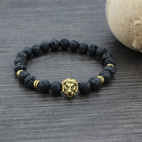 Wholesale Brand New Natural Stone Beads Bracelets Lava Lion Head Yoga Beaded Pc GE02094