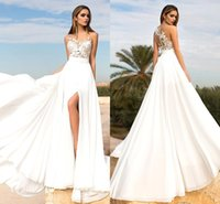 Wholesale Elegant New A Line Chiffon Wedding Dresses Sheer Neck Lace Applique Thigh High Slits Bridal Gowns With Buttons Back Beach Gowns BA3698