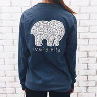 Wholesale NiceMix Brand New Summer Ivory Ella T shirt Women Tops Tee Print Animal Elephant T Shirt Loose Long Sleeve Harajuku Tops