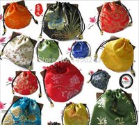 Wholesale x11mm Mix Color Drawstring Chinese Style Hmade Made Embroider Jewelry Festival Gift Bags For Jewelry Packing