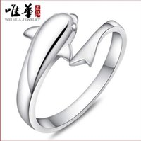 Wholesale Fashion female silver ring ring ring opening fashion romantic dolphin lovers