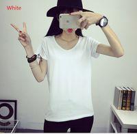 Wholesale Tee Shirt Women Promotion Black Lycra Solid Girls Tops Tee Shirt Women Short Sleeves V Neck Slim Female T Shirts colors WX