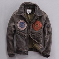 avirex flight jacket - Fall Avirex air force flight jacket Winter Thick Mens Brown Genuine Leather Coat Embroidery Badge Pilot Leather Jackets