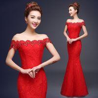 chinese crystal beads - Elegant Cheongsam Evening Dresses Mermaid Off Shoulder Red Beads Crystal Prom Party Dresses Chinese Cheongsam Dresses Evening Wear MYF01